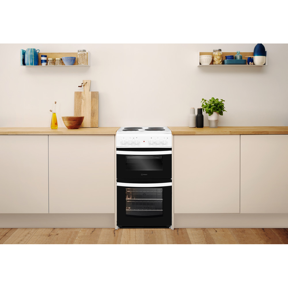 Indesit Double Cooker ID5E92KMW/UK White A Enamelled Sheetmetal Lifestyle frontal