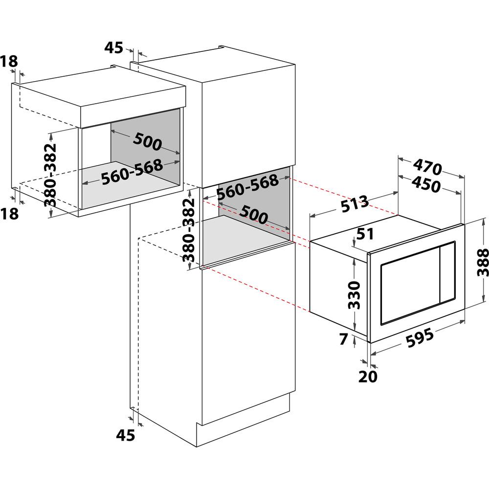 Indesit Microonde Da incasso MWI 222.2 X Inox Elettronico 25 Microonde combinato 900 Technical drawing