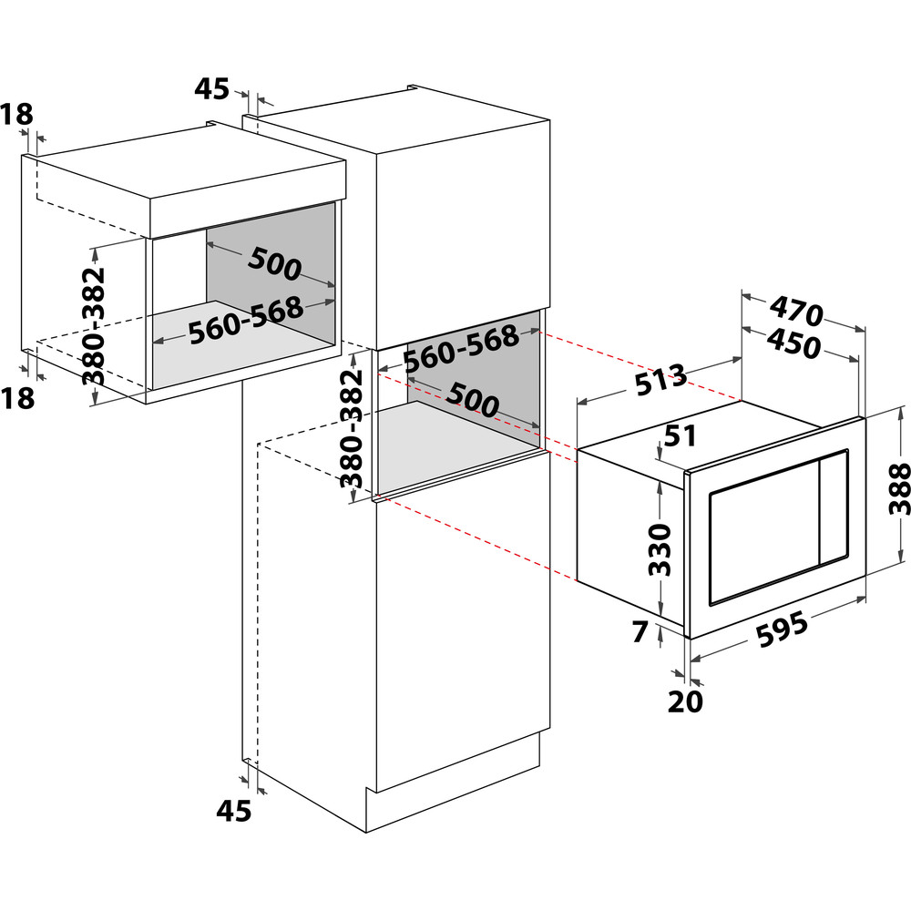 Indesit Microondas Encastre MWI 222.2 X Inox Electrónico 25 MW-Combi 900 Technical drawing