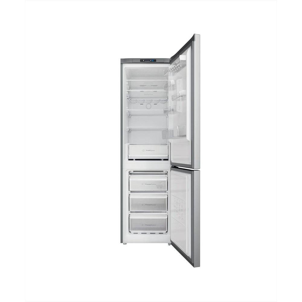 Indesit Combiné réfrigérateur congélateur Pose-libre INFC9 TI21X Inox 2 portes Frontal open