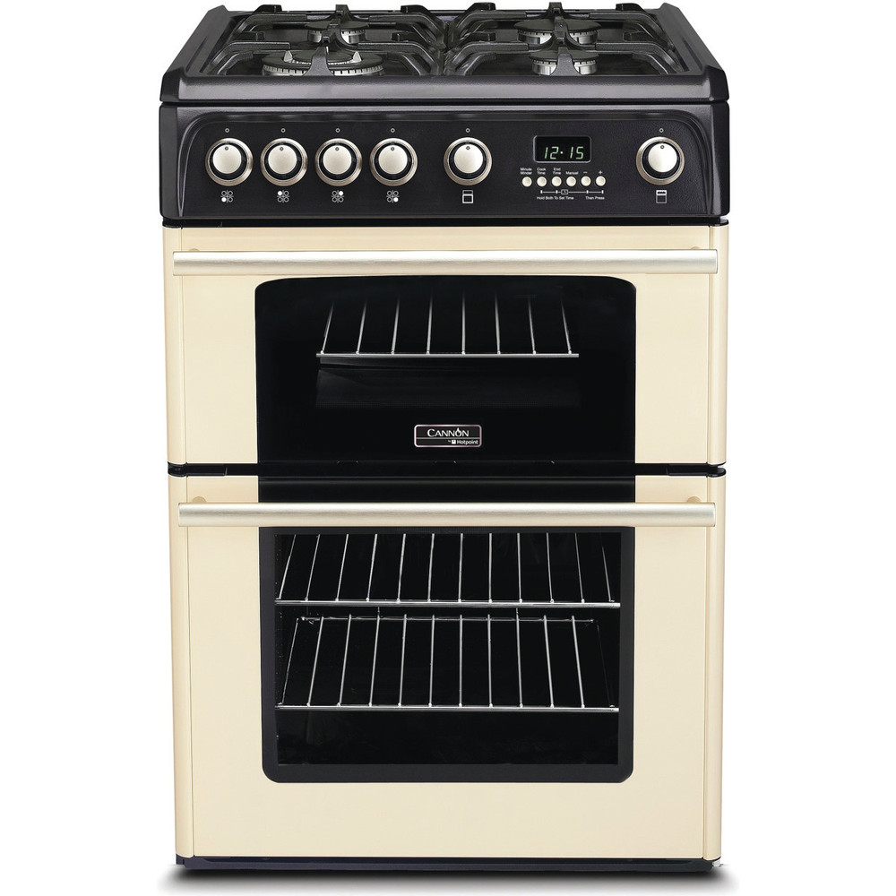 Hotpoint Double Cooker CH60GPCF Charcoal grey A+ Enamelled Sheetmetal Frontal