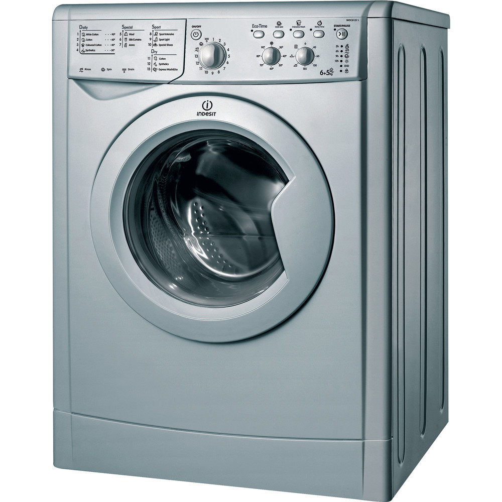 Indesit Washer dryer Free-standing IWDC 6125 S (UK) Silver Front loader Perspective