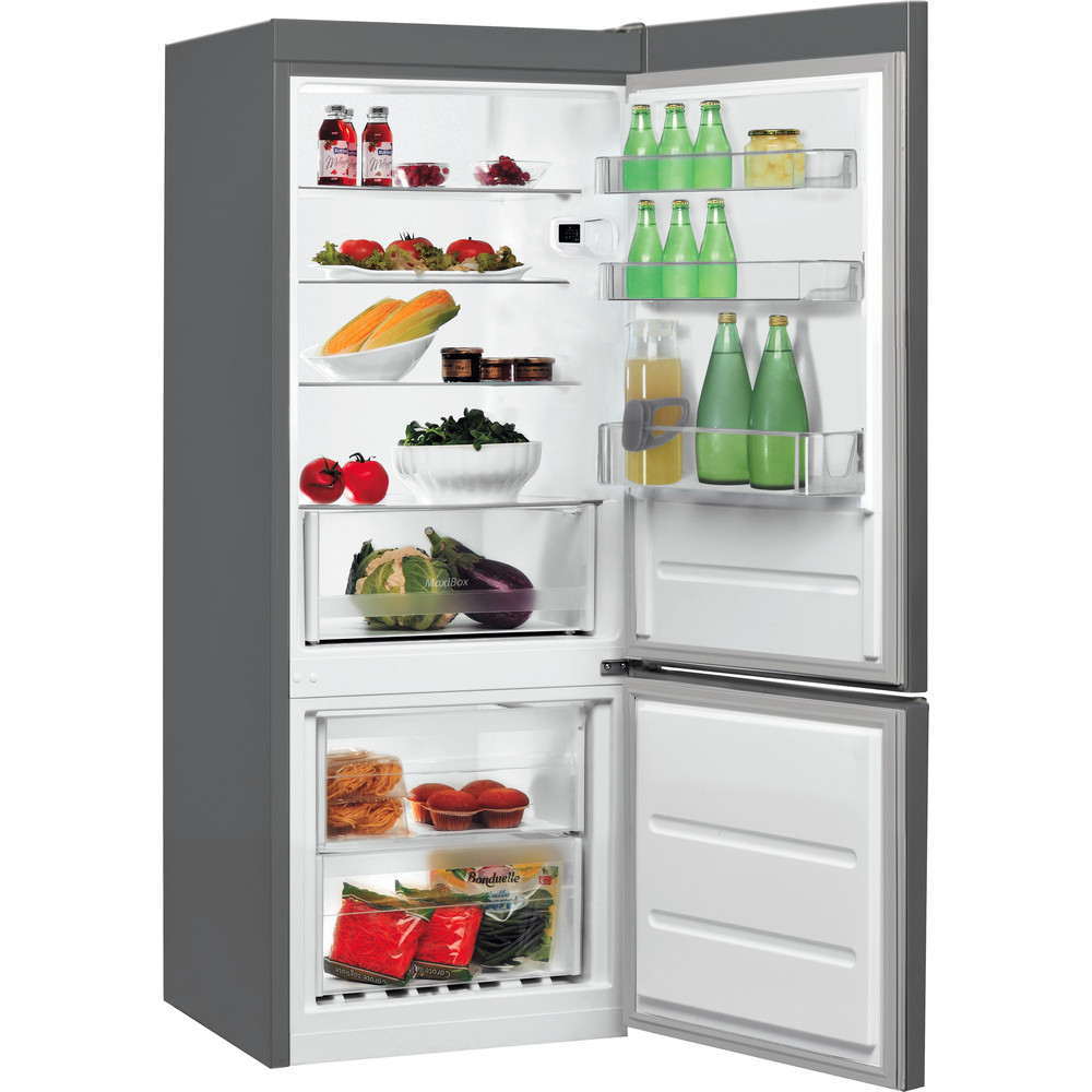Indesit Kombinētais ledusskapis/saldētava Brīvi stāvošs LI6 S1E X Inox 2 doors Perspective open