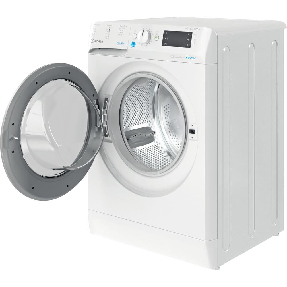 Indesit Waschtrockner Freistehend BDE 961483X WS EU N Weiß Frontlader Perspective open