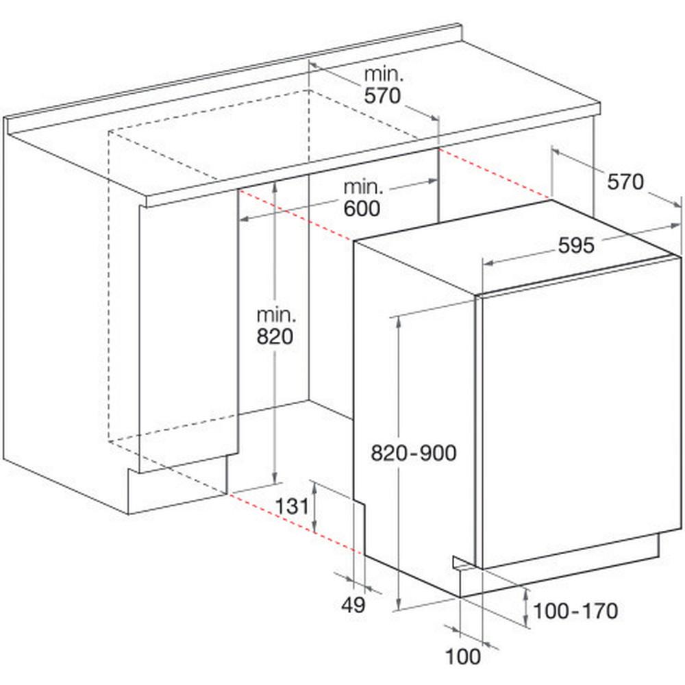 Indesit Umývačka riadu Vstavané DIFP 8T94 Z Full-integrated A Technical drawing