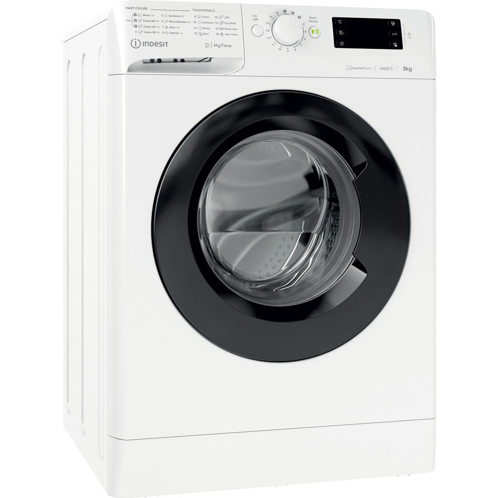 Indsit Maşină de spălat rufe Independent MTWE 91483 WK EE Alb Încărcare frontală D Perspective