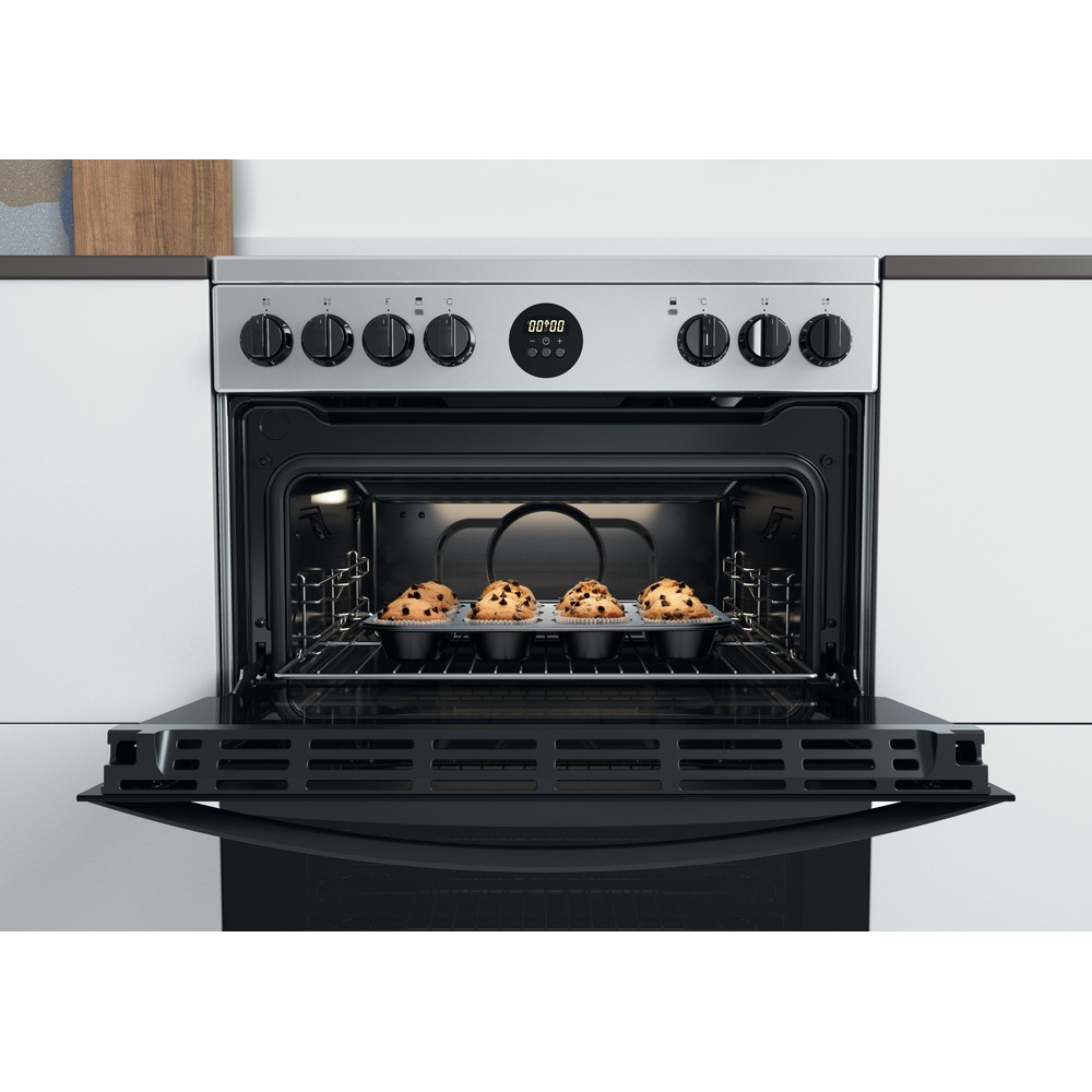 Indesit Double Cooker ID67V9HCX/UK Inox A Lifestyle frontal open