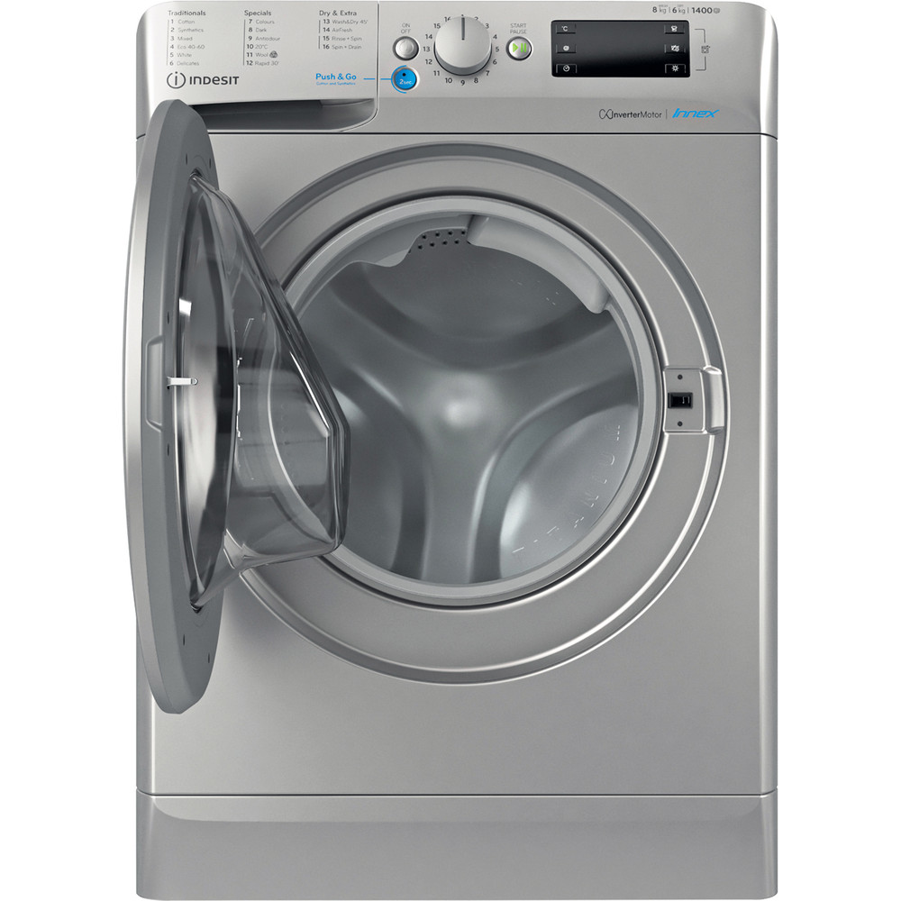 Indesit Washer dryer Free-standing BDE 861483X S UK N Silver Front loader Frontal open
