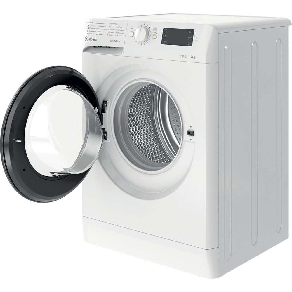 Indsit Maşină de spălat rufe Independent MTWE 71252 WK EE Alb Încărcare frontală A +++ Perspective open