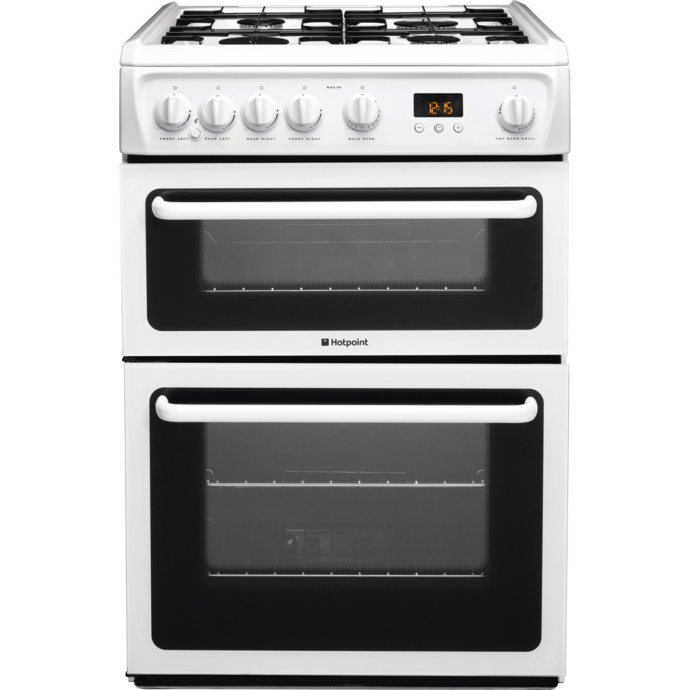 Hotpoint Double Cooker HAG60P White A+ Enamelled Sheetmetal Frontal
