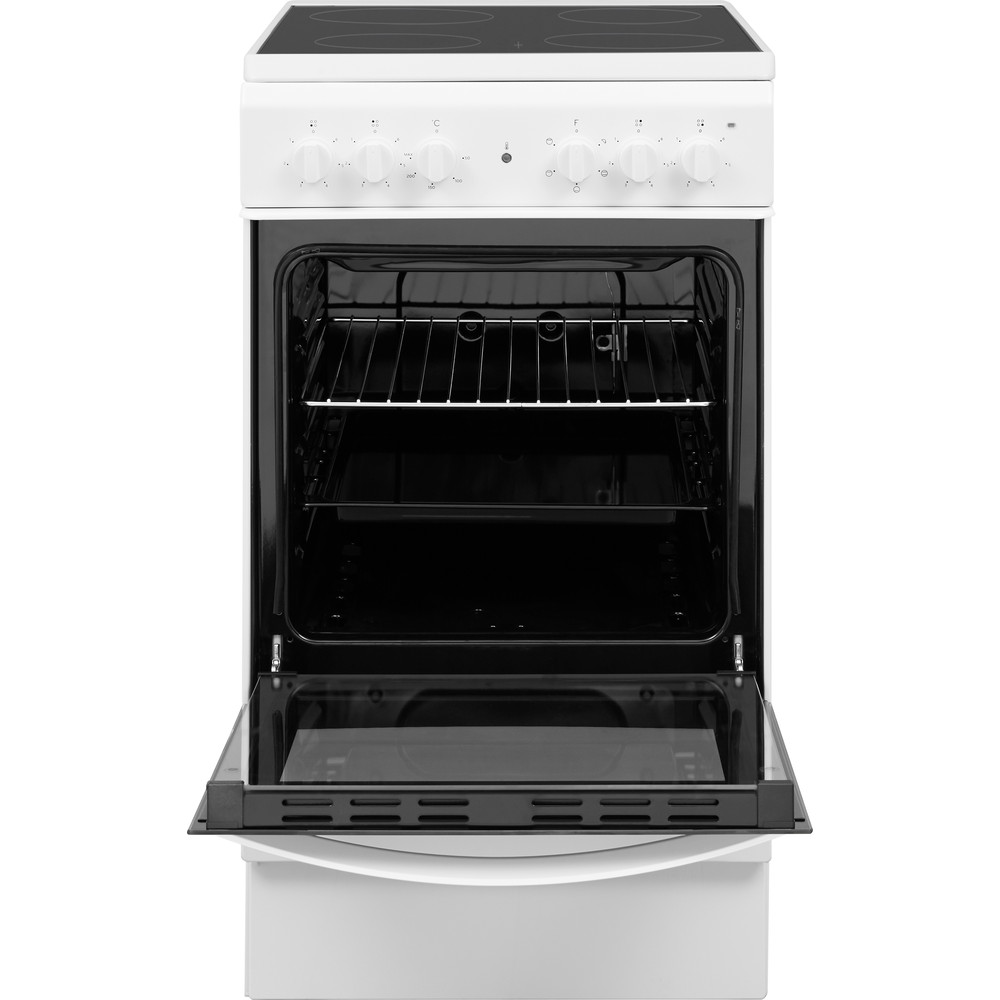 Indesit Cooker IS5V4KHW/UK White Electrical Frontal open