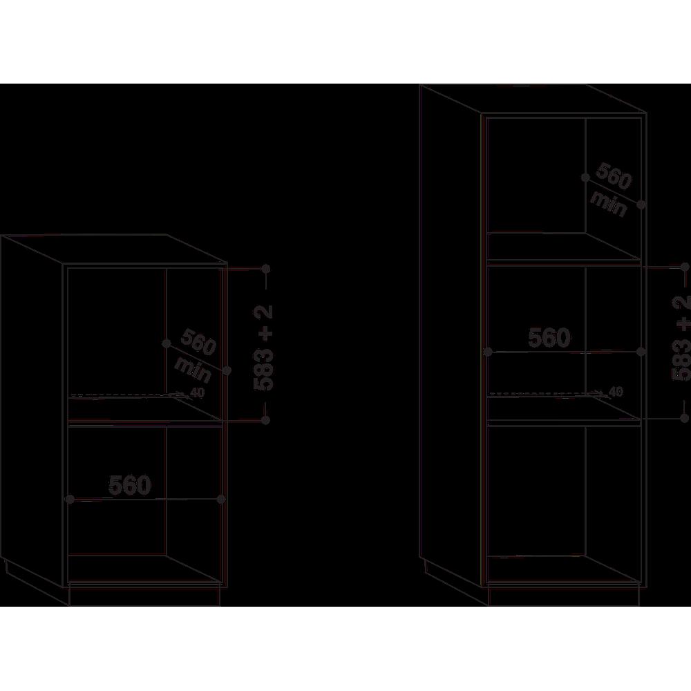 Indesit Духовой шкаф Встраиваемый IGW 620 BL Газовая A Technical drawing