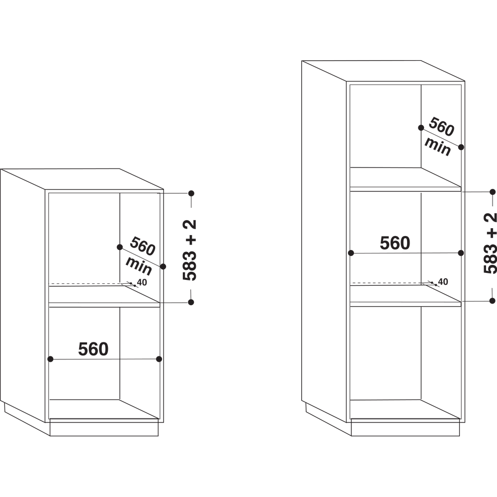Indesit Ugn Inbyggda IFW 3534 H IX Elektrisk A Technical drawing