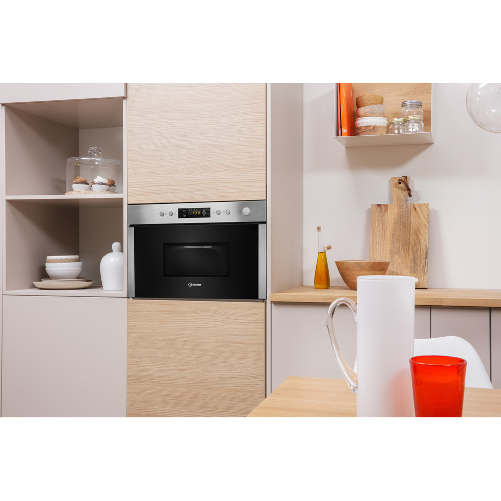 Indesit Microwave Built-in MWI 3213 IX UK Inox Electronic 22 MW+Grill function 750 Lifestyle perspective