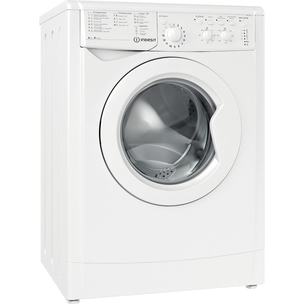 Indesit Стиральная машина Отдельностоящий IWC 6105 (CIS) Белый Фронтальная загрузка A Perspective