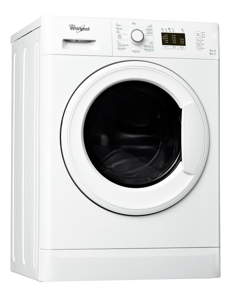 Whirlpool Washer dryer مفرد WWDE 7512 أبيض محمل أمامي Perspective