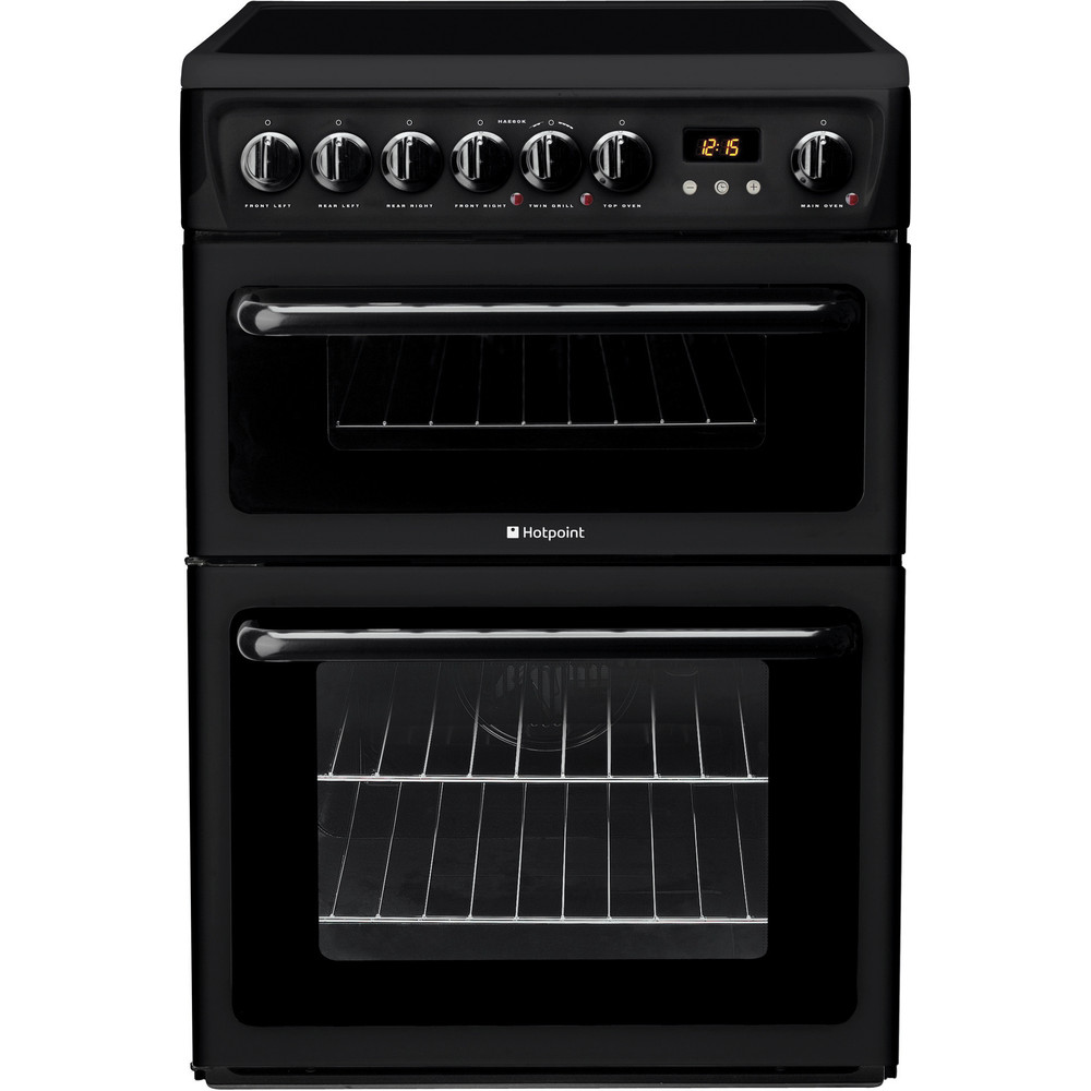 Hotpoint Double Cooker HAE60K S Black A Vitroceramic Frontal