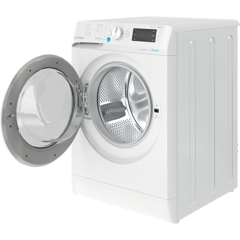 Indesit Washer dryer Free-standing BDE 1071682X W UK N White Front loader Perspective open