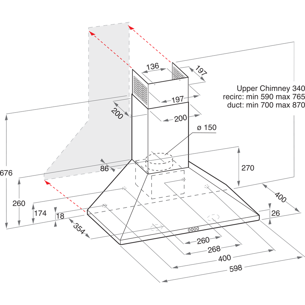 Indesit HOOD Built-in IHPC 6.4 LM K Black Wall-mounted Mechanical Technical drawing