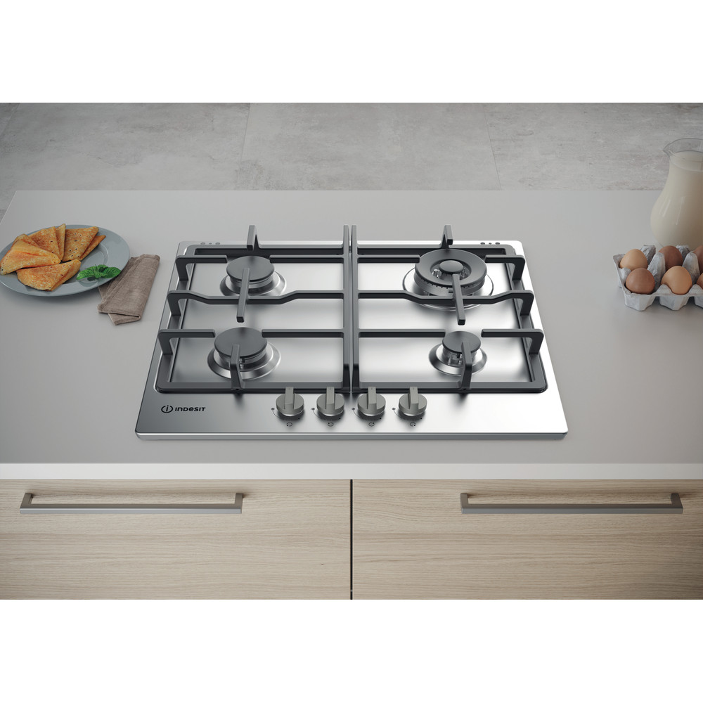 Indesit HOB THP 641 W/IX/I Inox GAS Lifestyle frontal top down