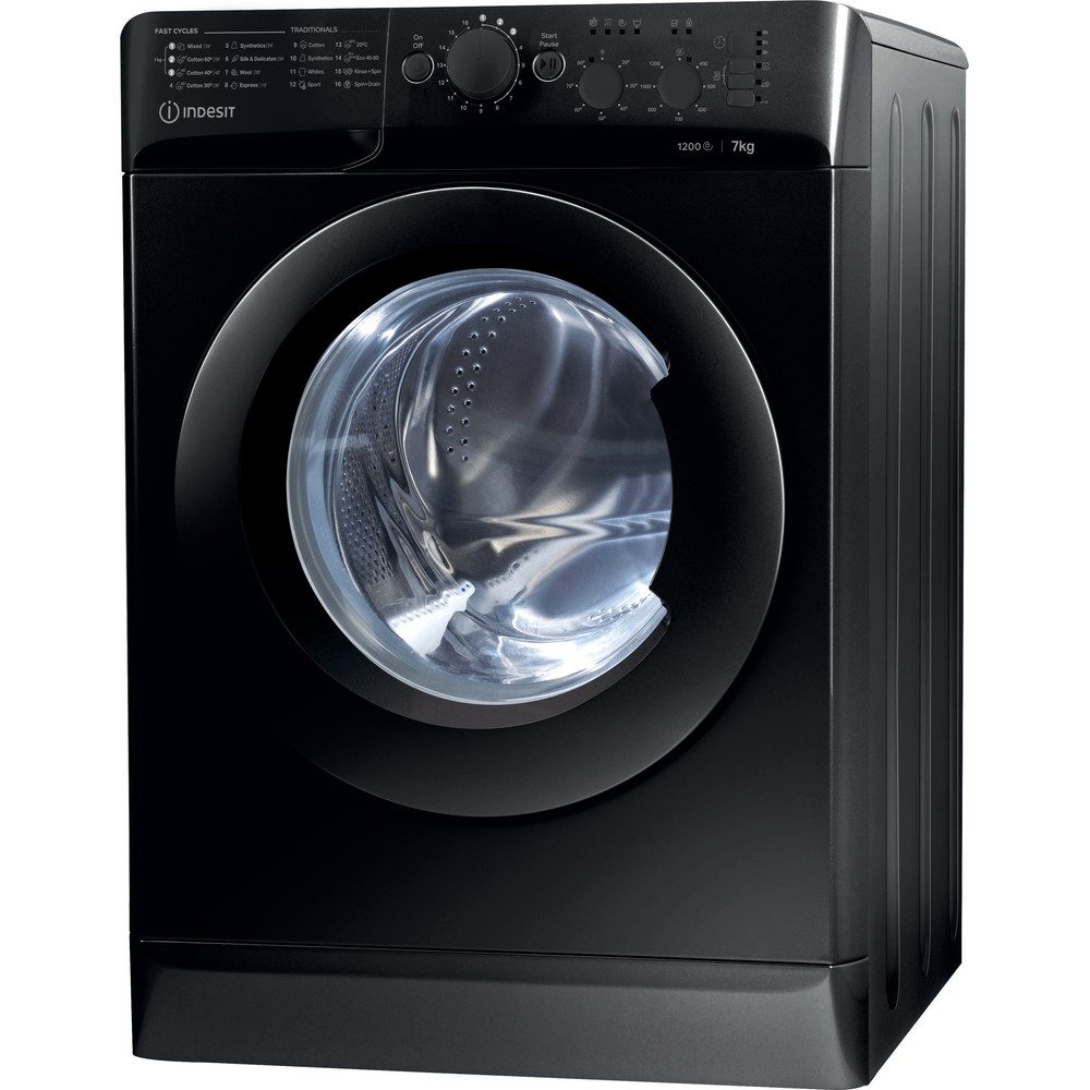 Indesit Washing machine Free-standing MTWC 71252 K UK Black Front loader A++ Perspective