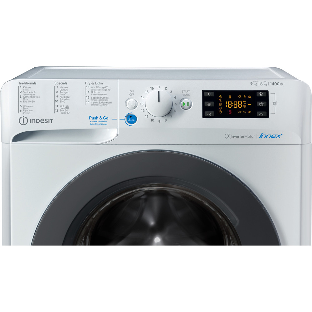 Indesit Wasdroger Vrijstaand BDEBE 961483X WK N Wit Voorlader Control panel