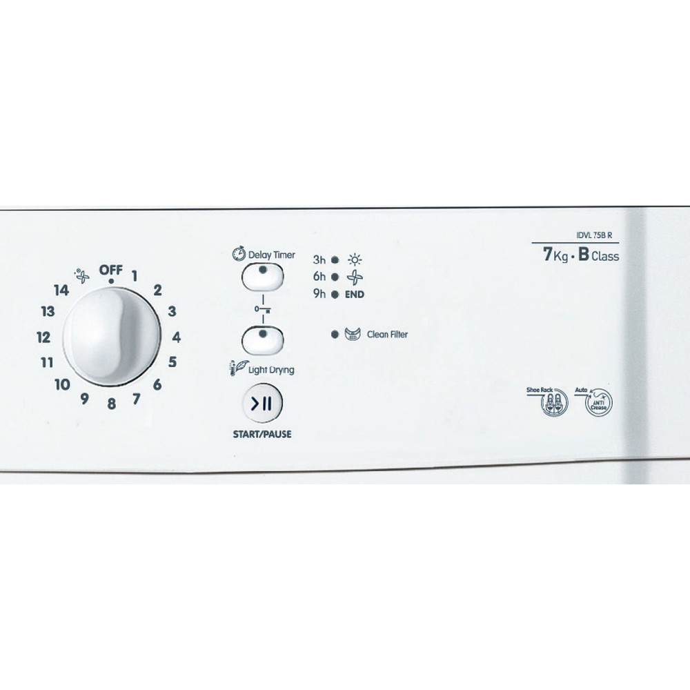 Indesit Dryer IDVL 75 BR.9 UK White Control panel