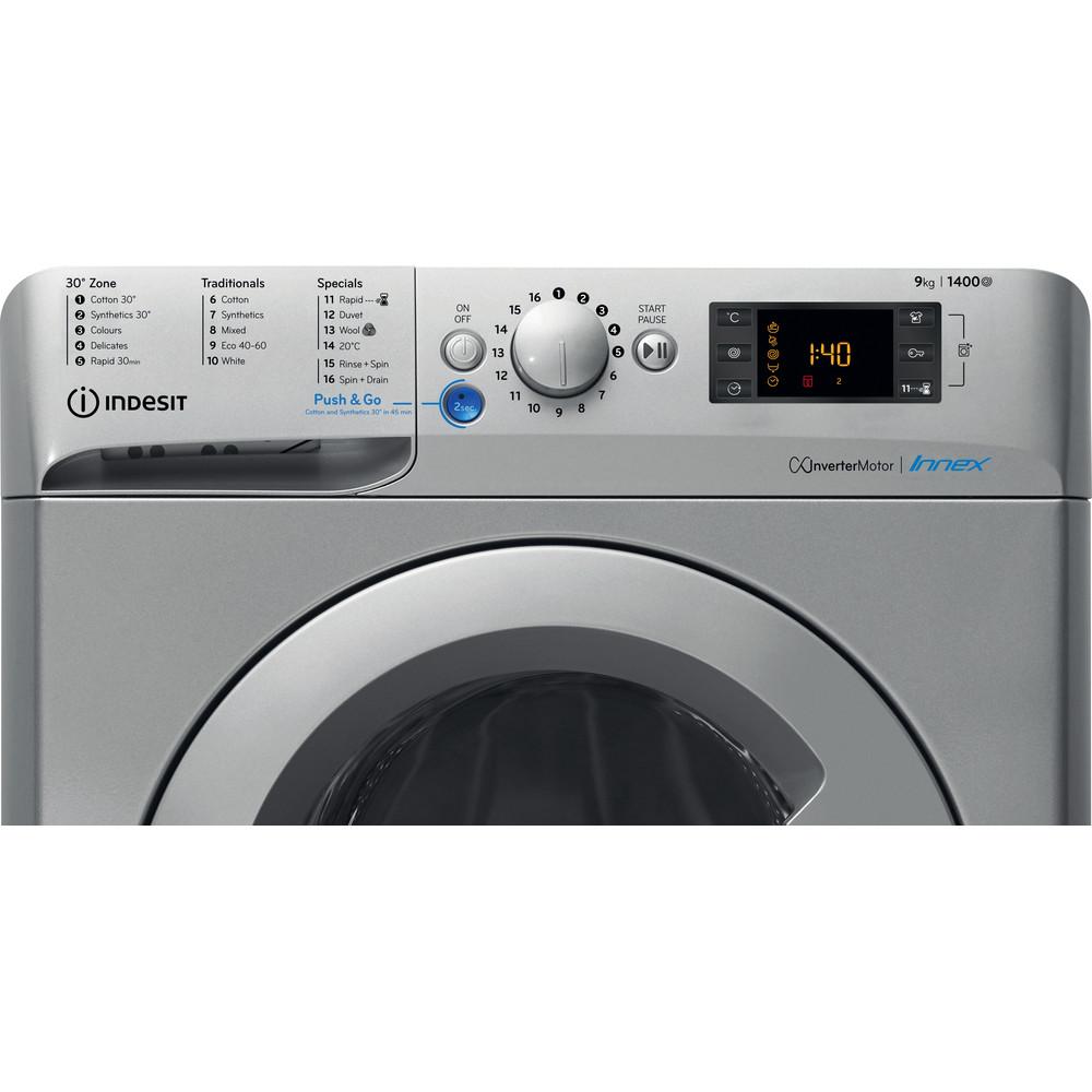 Indesit Washing machine Free-standing BWE 91483X S UK N Silver Front loader A+++ Control panel