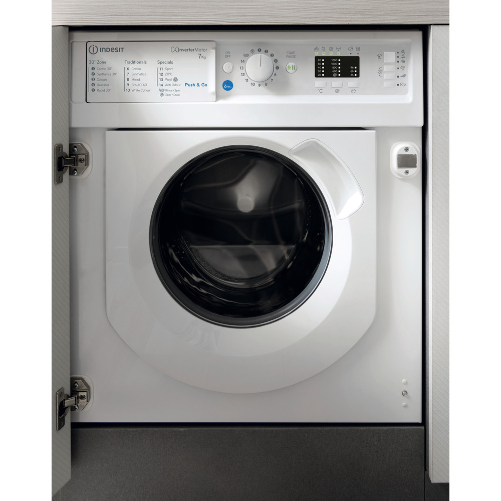 Indesit Washing machine Built-in BI WMIL 71252 UK N White Front loader E Frontal