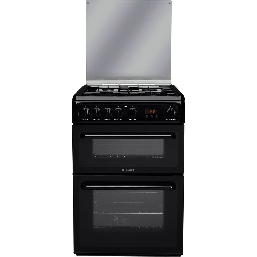 Hotpoint Double Cooker HAGL60K Black A+ Enamelled Sheetmetal Frontal