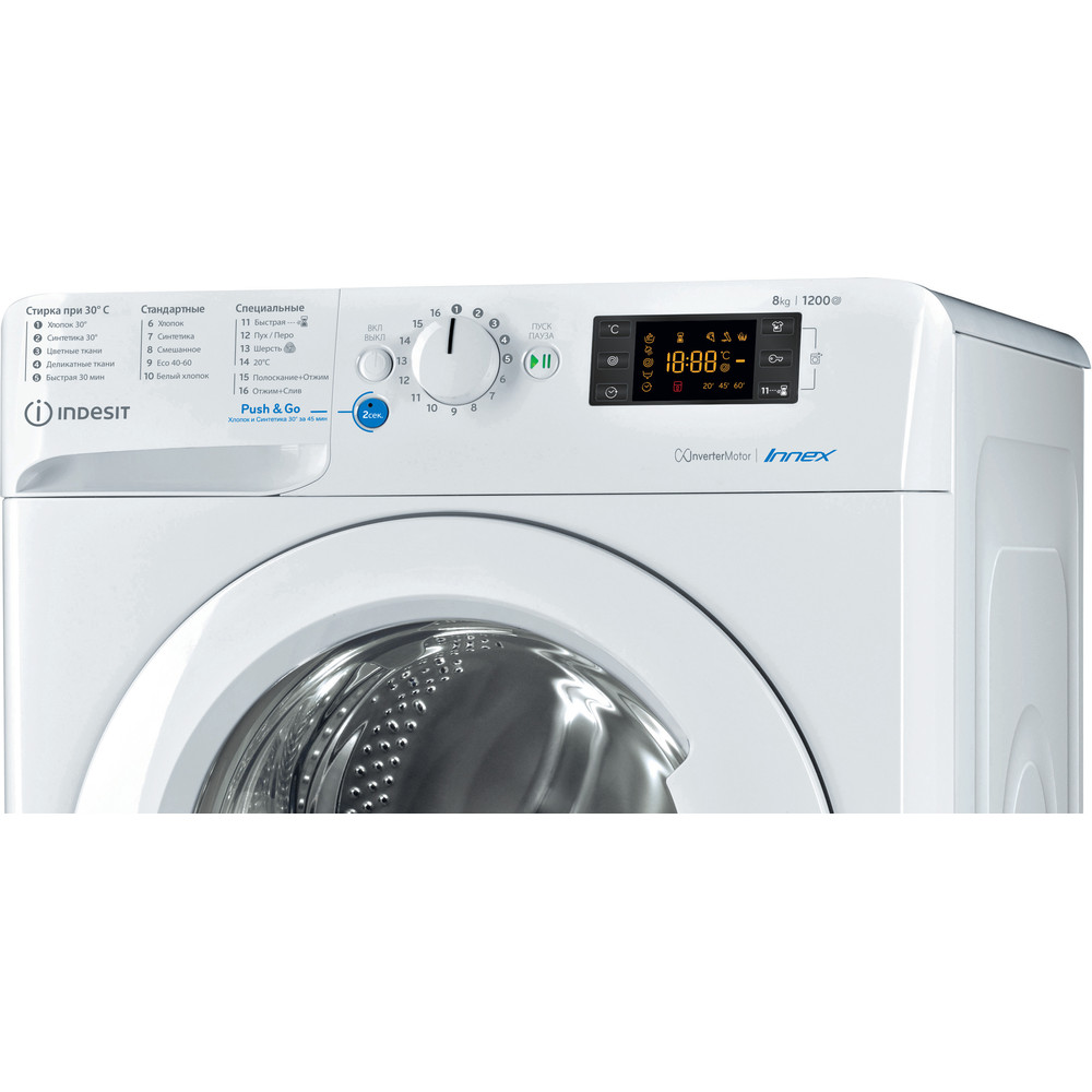 Indesit Стиральная машина Отдельностоящий BWSE 81282 L Белый Фронтальная загрузка A Control panel