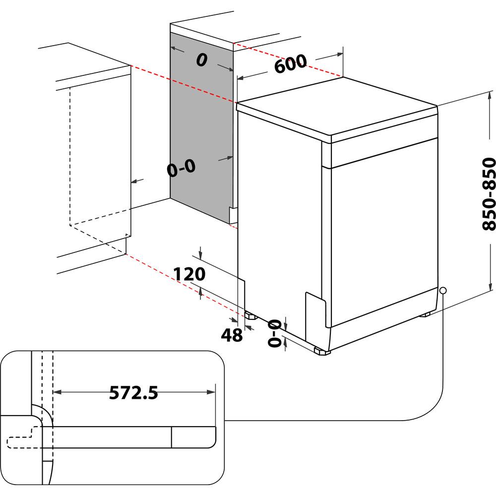 Indesit Myčka nádobí Volně stojící DFE 1B19 13 Volně stojící F Technical drawing