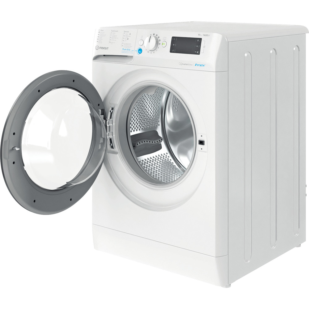 Indesit Lave-linge Pose-libre BWEBE 101683X WK N Blanc Frontal D Perspective open