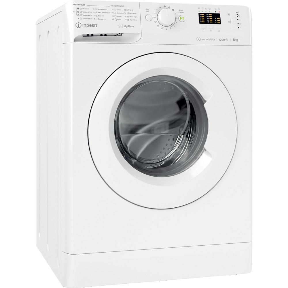 Indsit Maşină de spălat rufe Independent MTWA 81283 W EE Alb Încărcare frontală A +++ Perspective