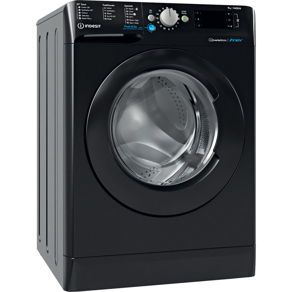 Indesit Washing machine Free-standing BWE 91483X K UK N Black Front loader D Perspective