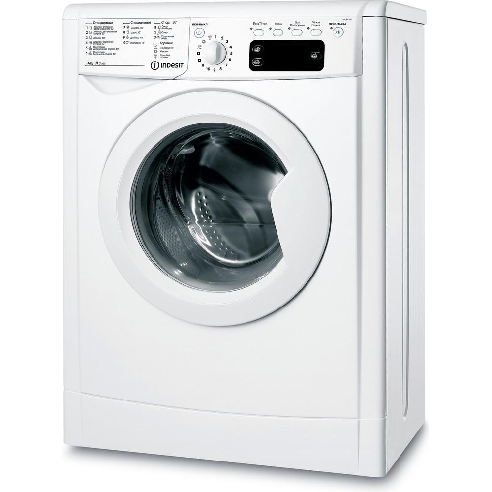 Indesit Стиральная машина Отдельностоящий IWUE 4105 (CIS) Белый Фронтальная загрузка A Perspective