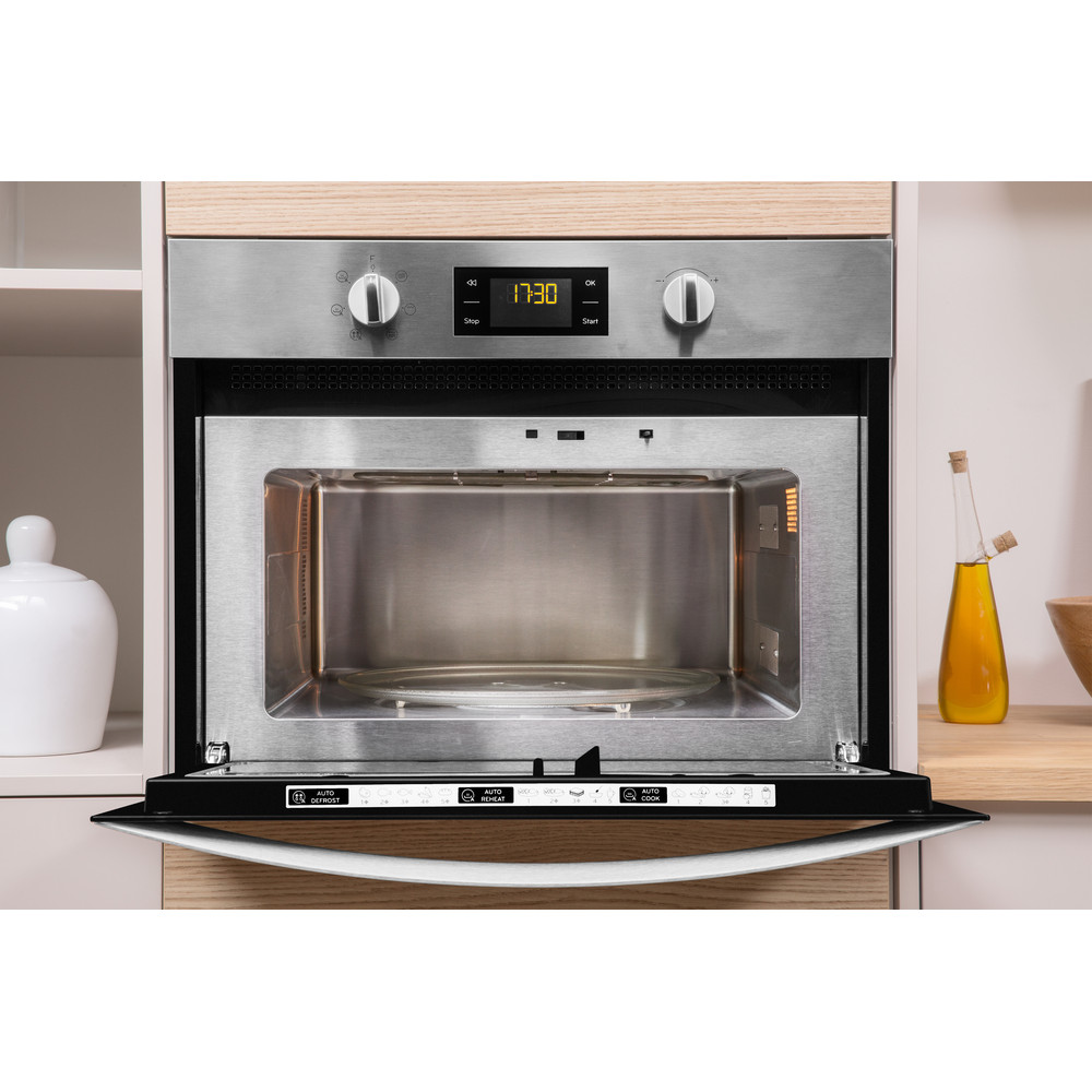 Indesit Microwave Built-in MWI 3443 IX UK Inox Electronic 40 MW+Grill function 900 Lifestyle frontal open