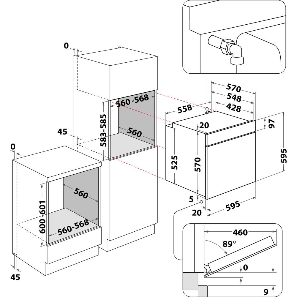 Indesit Духовой шкаф Встраиваемый IGW 324 IX Газовая A Technical drawing