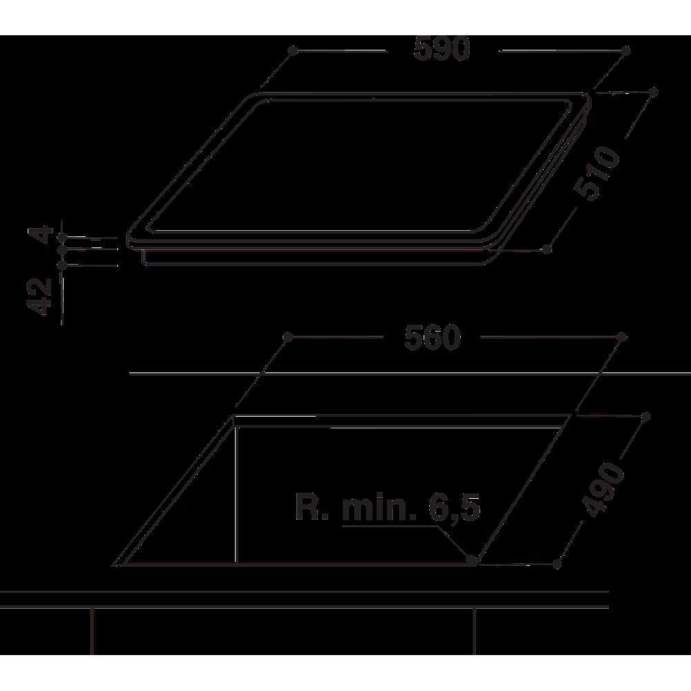 Indesit Table de cuisson RI 161 C Noir Radiant vitroceramic Technical drawing