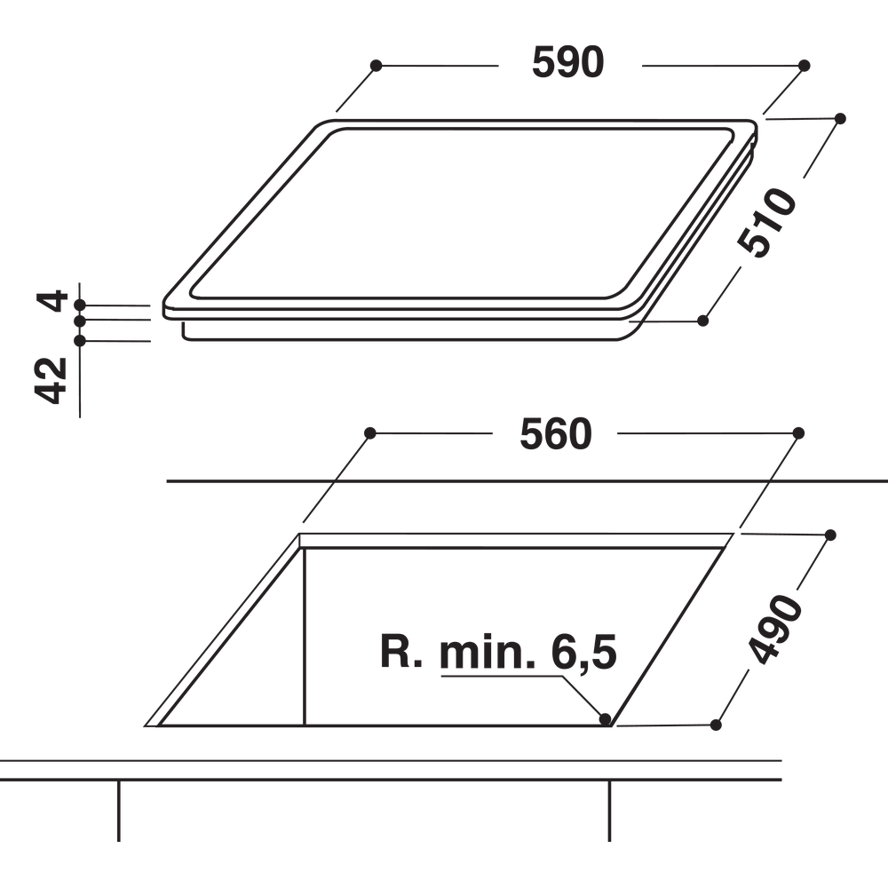 Indesit Liesitaso RI 161 C Musta Radiant vitroceramic Technical drawing
