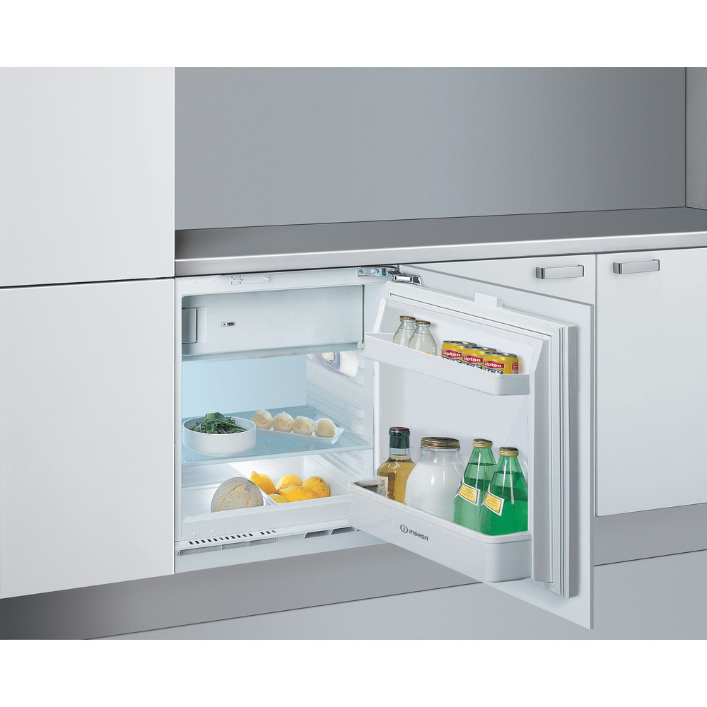 Indesit Refrigerator Built-in IF A1.UK 1 Steel Perspective open