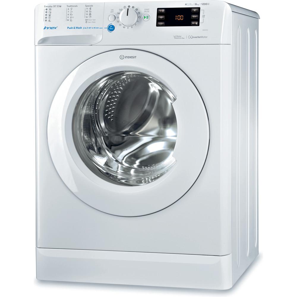 Indsit Maşină de spălat rufe Independent BWE 81284X W EU Alb Încărcare frontală A +++ Perspective