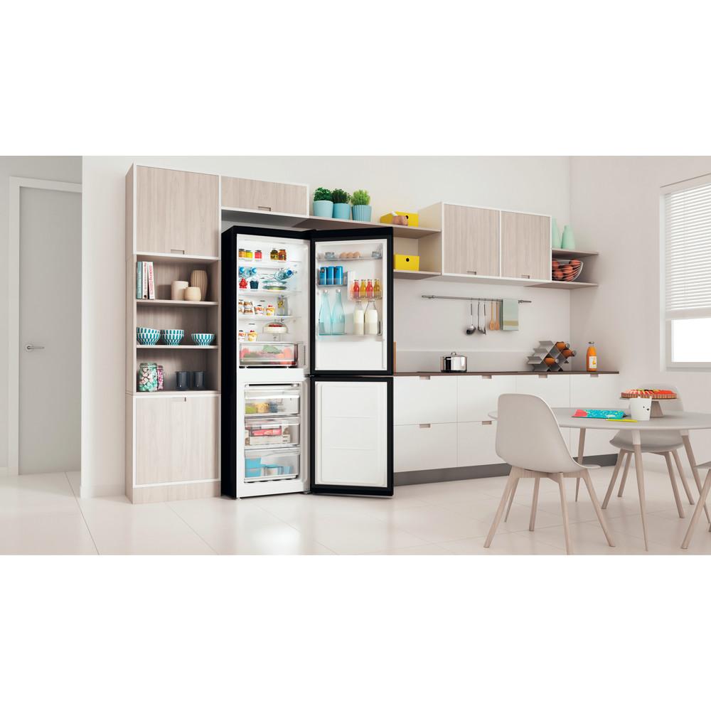 Indesit Réfrigérateur combiné Pose-libre INFC8 TO22K Noir 2 portes Lifestyle perspective open