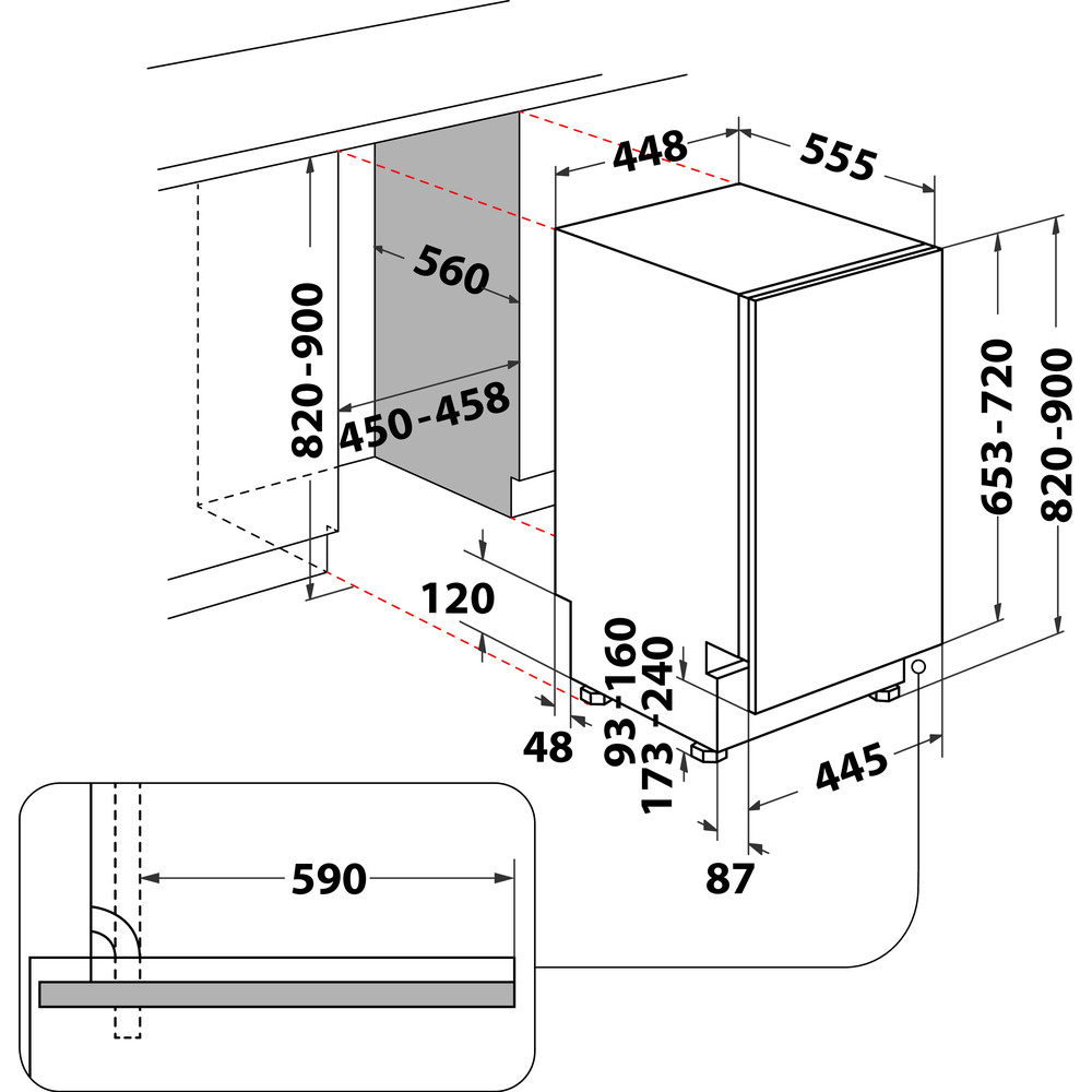 Indesit Πλυντήριο πιάτων Εντοιχιζόμενο DSIE 2B19 Full-integrated F Technical drawing