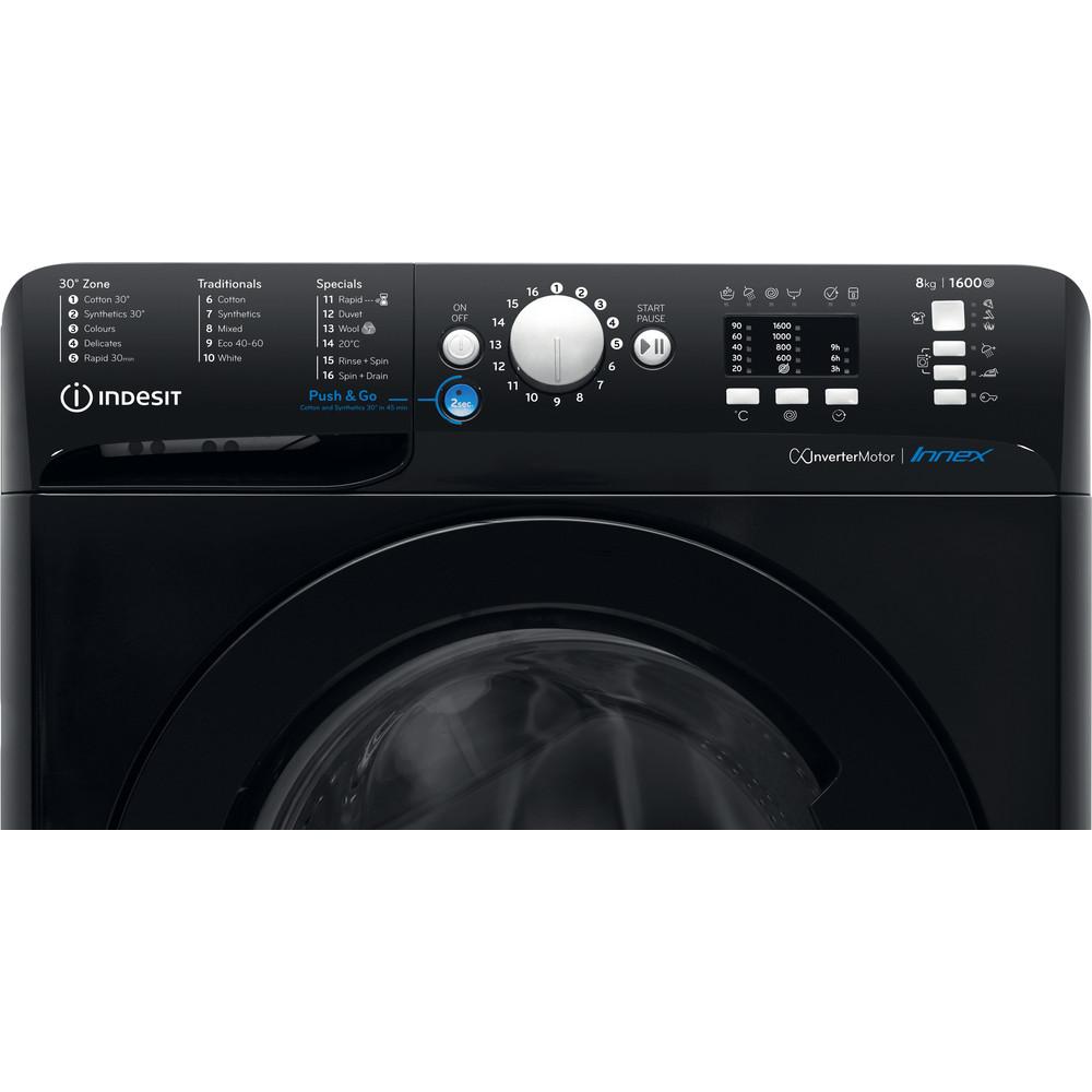 Indesit Washing machine Free-standing BWA 81683X K UK N Black Front loader A+++ Control panel