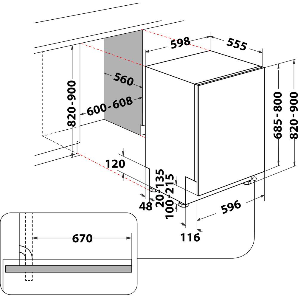 Indesit Vaatwasser Ingebouwd DIC 3B+16 A S Volledig geïntegreerd F Technical drawing
