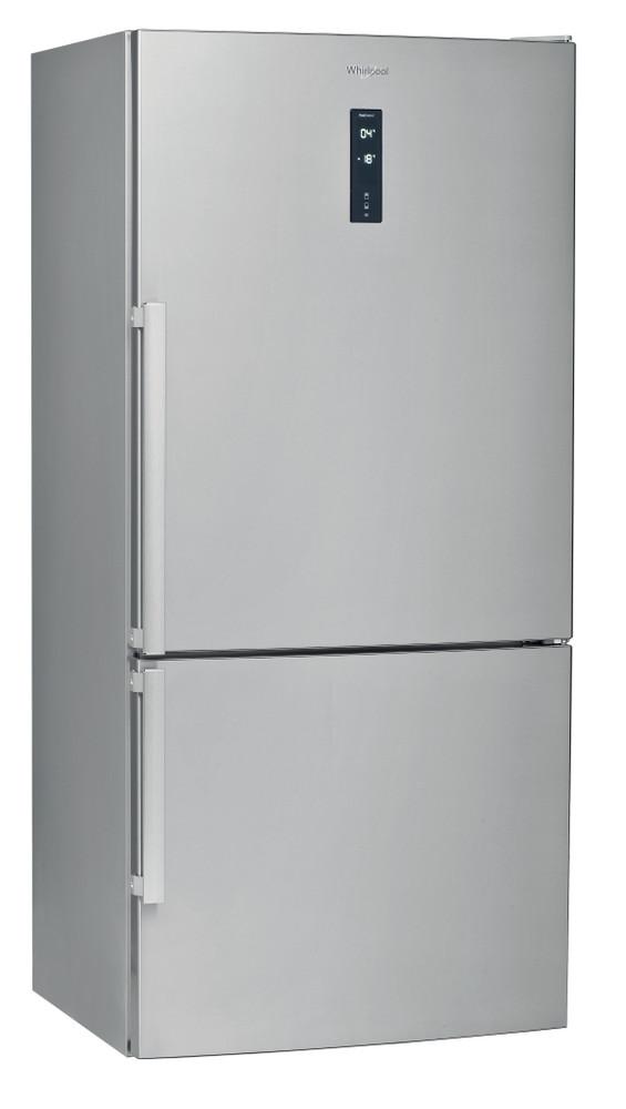 Whirlpool Fridge-Freezer Combination Free-standing W84BE 72 X UK Inox 2 doors Perspective