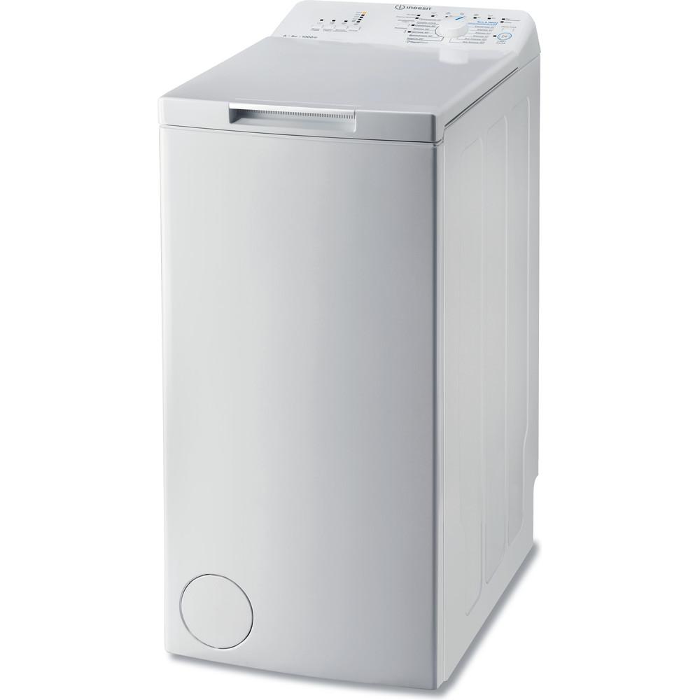 Indesit Стиральная машина Отдельностоящий MTW A51051 (RF) Белый Вертикальная загрузка A Perspective