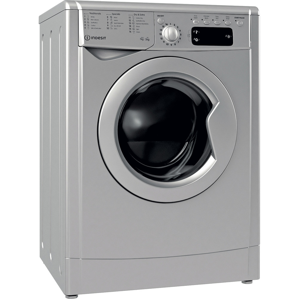 Indesit Washer dryer Free-standing IWDD 75145 S UK N Silver Front loader Perspective