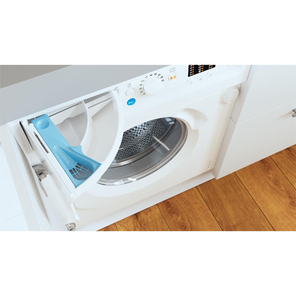 Indesit Washing machine Built-in BI WMIL 71252 UK N White Front loader E Drawer